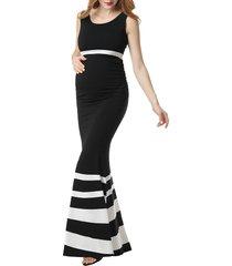 women's kimi and kai cortana stripe maternity mermaid maxi dress, size large - black