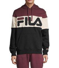 fila colorblock logo hoodie - deep blue - size l