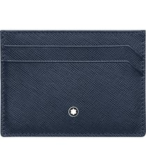 montblanc sartorial leather card case in blue at nordstrom