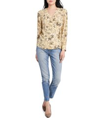 women's vince camtuo antique floral side tie long sleeve blouse, size medium - yellow