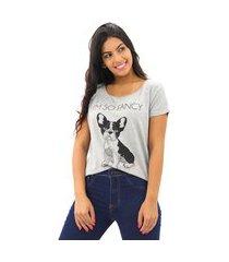 blusa t-shirt mullet feminina estampada m- curta viscolycra