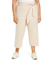 plus size women's wayf fulton tie waist crop pants, size 2x - beige