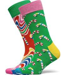 2-pack psychedelic candy cane socks gift set underwear socks regular socks multi/mönstrad happy socks