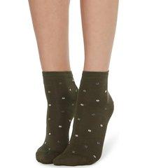 calzedonia - fancy patterned socks, one size, green, women