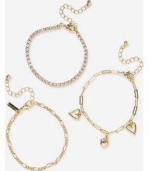 *heart charm bracelet multipack - gold