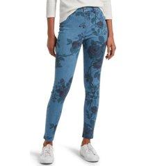 hue women's faded floral ultra soft denim high waist 7/8 legging