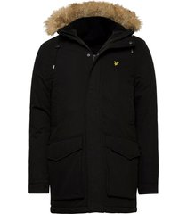 winter weight microfleece lined parka parka jacka svart lyle & scott
