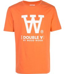 wood wood logo print t-shirt - orange