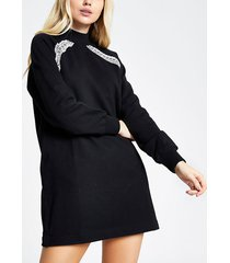 river island womens black ri tape long sleeve sweatshirt dress