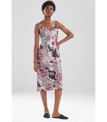 obi garden gown pajamas / sleepwear / loungewear, women's, silver, size l, n natori