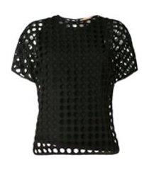 nº21 camiseta com sobreposição e vazado - preto