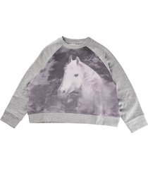 stella mccartney crew neck sweatshirt with horse print, gray