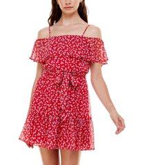 b darlin juniors' floral-print off-the-shoulder dress