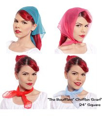 """sheer chiffon scarf - the bouffant - 24"""" square solid colors - hey viv 50 style"""