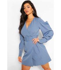 blazer jurk met pofmouwen en ceintuur, blauwgroen