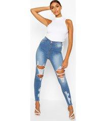 distressed skinny jeans van stretchstof met hoge taille, lichtblauw