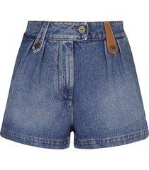 loewe logo patched denim shorts