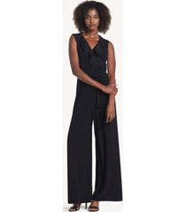 tommy hilfiger women's essential sleeveless ruffle jumpsuit black - 4