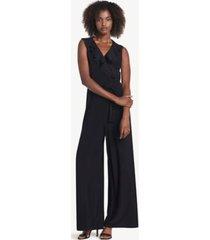 tommy hilfiger women's essential sleeveless ruffle jumpsuit black - 4