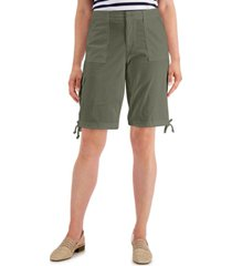 karen scott tie-hem twill shorts, created for macy's