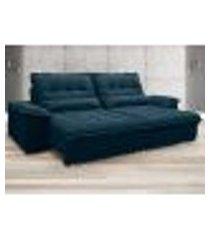 sofá bergamo 2,10m assento retrátil e reclinável velosuede royal - netsofas