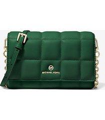 mk borsa a tracolla piccola in pelle trapuntata per smartphone - muschio (verde) - michael kors