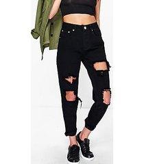 hatty high waist distress boyfriend jeans