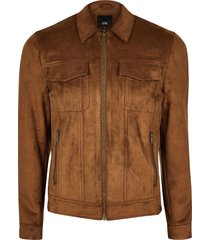 river island mens big and tall brown suedette western jacket