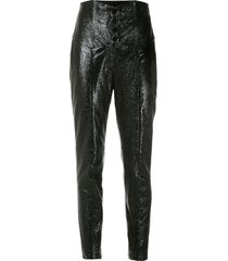 andrea bogosian tapered textured leather trousers - black