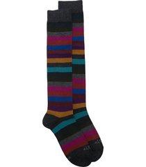 altea striped print mid-length socks - grey