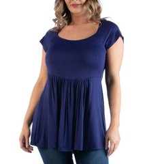 24seven comfort apparel women's plus size cap sleeve babydoll tunic top