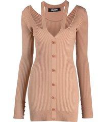 adamo ribbed-knit v-neck cardigan - neutrals