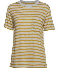new striped slub - ss top t-shirts & tops short-sleeved grå t by alexander wang