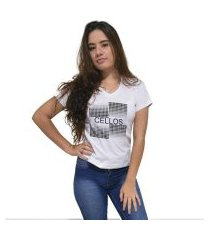 camiseta gola v cellos degradê premium feminina