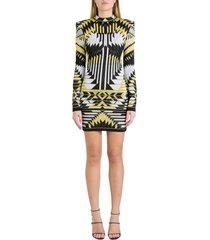 balmain dress in stretch jacquard knit