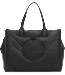 bolsa tory burch  ella leather puffer tote preto