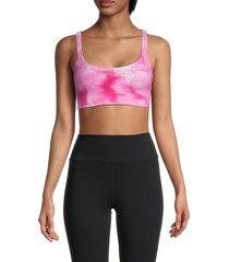 free people movement women's tie-dye sports bra - pink astor - size m/l