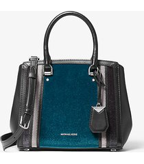 mk borsa a mano benning media tricolore - lxteal/chrcl - michael kors