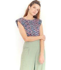 camiseta de estampado multicolor, cuello redondo, manga sisa color-multicolor-talla-xl