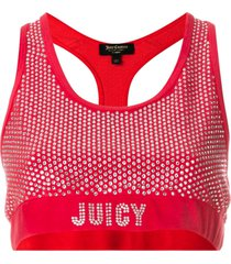 juicy couture swarovski embellished velour crop top - red