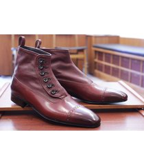 handmade men classic brown button top leather boots dress casual leather jeans