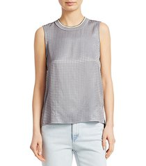 ali houndstooth silk shell tank top