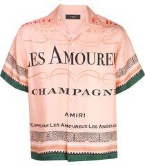 amiri les amoureux champagne satin shirt - pink