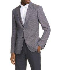 men's z zegna trim fit houndstooth wool & linen sport coat