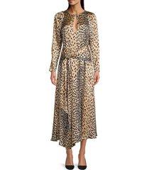 rebecca taylor women's cheetah-print silk long-sleeve dress - golden - size 6