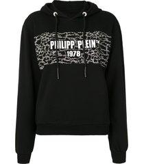 philipp plein pp 1978 print stud detail hoodie - black