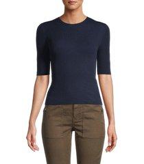 vince women's crewneck cotton pullover - optic white - size xl