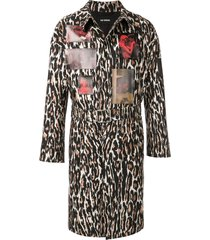 raf simons leopard photo print belted coat - brown