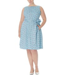 anne klein plus size printed fit & flare dress