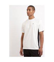 camiseta masculina esporte ace futebol com recortes manga curta gola careca branca